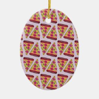 blumen Pizza Ovales Keramik Ornament