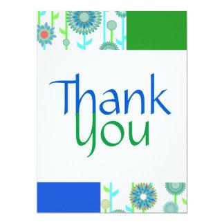 Blumen-Power-aquamarines blaues Grün danken Ihnen 16,5 X 22,2 Cm Einladungskarte