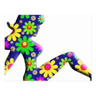 Blumen-Power-Fernlastfahrer-Mädchen Postkarte