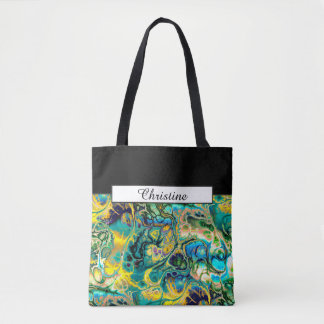 Blumen-Power FRAKTAL-BATIK aquamarine gelbe blaue Tasche