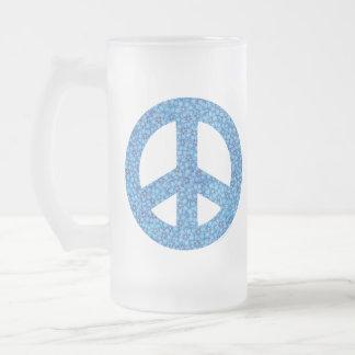 Blumen-Power-Friedenszeichen Mattglas Bierglas