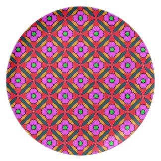 Blumen-Power im rosa Entwurf Flacher Teller