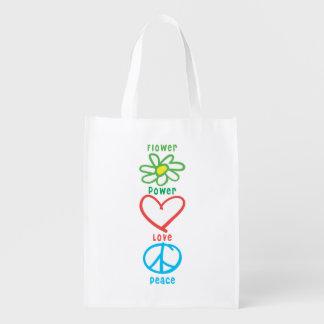 Blumen-Power-Liebe und Frieden Wiederverwendbare Einkaufstasche