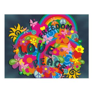 Blumen-Power-Regenbogen Postkarte
