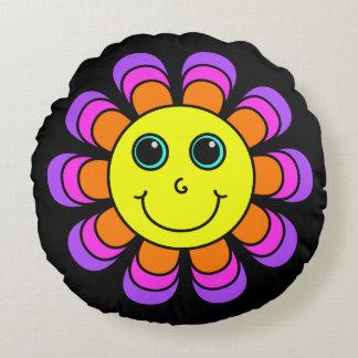 Blumen-Power-Smiley Rundes Kissen