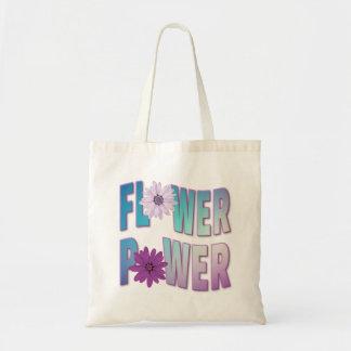 Blumen-Power-Taschen-- blauer u. lila Entwurf Tragetasche