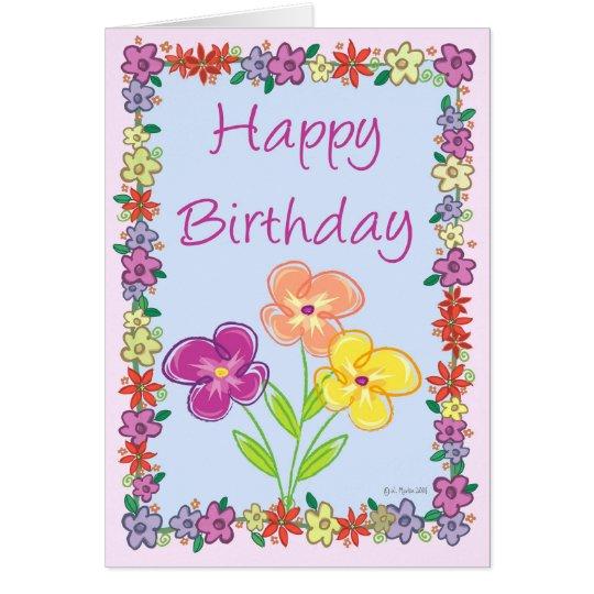 Blumen-Rahmen-Geburtstags-Karte Grußkarte