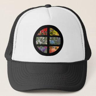 Blumen-Regenbogen im beflecktes Truckerkappe