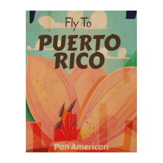 Blumen-Reise-Plakat Puertos Rico Vintages Holzleinwand