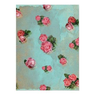 Blumen-Rosen blaues rosa mit Blumennostalic 14 X 19,5 Cm Einladungskarte
