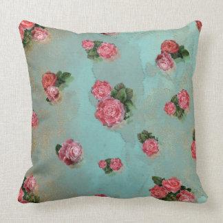 Blumen-Rosen blaues rosa mit Blumennostalic Kissen