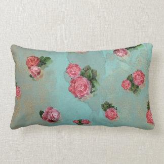 Blumen-Rosen blaues rosa mit Blumennostalic Zierkissen