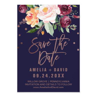Blumen| Rosen-Gold des Herbst-Save the Date Karte