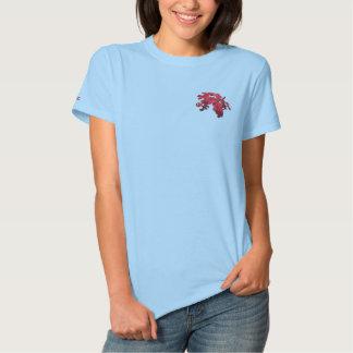 Blumen rot besticktes T-Shirt