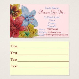 Blumen rote gelbe blaue Lilien-Vorlagenfloristen Visitenkarte
