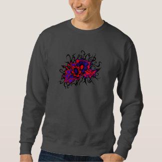Blumen-rotes lila umgekehrtes Farbtinten-Zeichnen Sweatshirt
