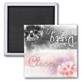 Blumen - sauber oder schmutzig quadratischer magnet