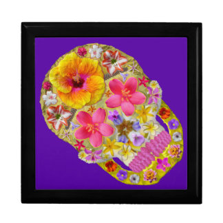 Blumen-Schädel 4 - tropisch Geschenkbox
