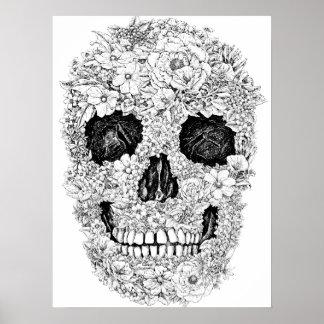 Blumen-Schädel-Plakat