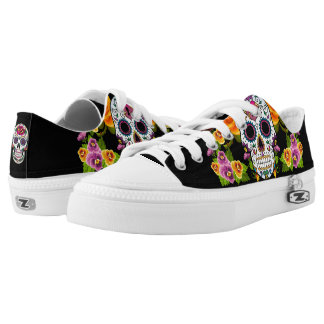 Blumen-Schädel-Tag des toten Entwurfs Niedrig-geschnittene Sneaker