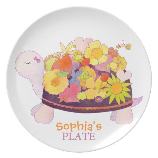 Blumen-Schildkröte-personalisierter Baby-Teller Teller