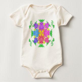 Blumen-Schildkröten Baby Strampler