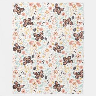 Blumen-Schmetterlinge und Bienen Fleecedecke