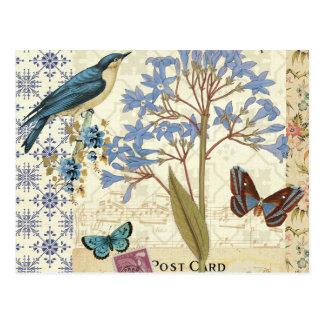 Blumen, Schmetterlinge und Vogel-Collage Postkarte