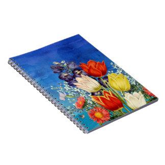 Blumen-Schmetterlings-Kolibris Spiral Notizblock