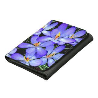 Blumen-schwarze dreifachgefaltete Nylongeldbörse