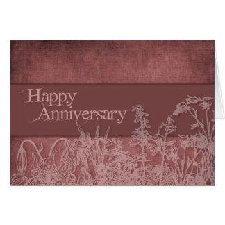 Blumen-Silhouette-Jahrestag Grußkarte