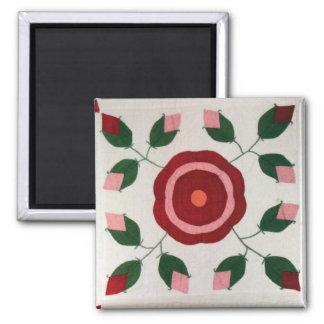 Blumen-Steppdecken-Block 2906 Quadratischer Magnet