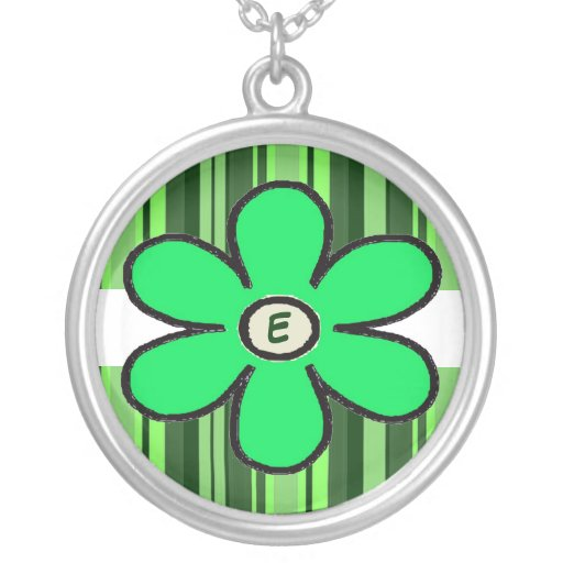 Blumen-Streifen-Initialen-Halskette