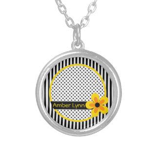 Blumen, Streifen, Polka-Punkte Gelb, Schwarzes, Versilberte Kette