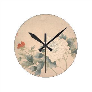Blumen-Studie - YUNBing (chinesisch) Runde Wanduhr