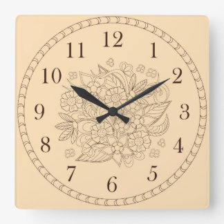 blumen Time Quadratische Wanduhr