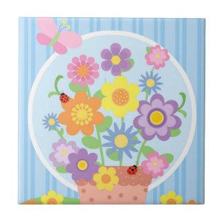 Blumen-Topf-Keramik-Fliese Kleine Quadratische Fliese