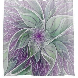 Blumen-Traum, abstrakte lila grüne Fraktal-Kunst Duschvorhang