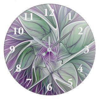 Blumen-Traum, abstrakte lila grüne Fraktal-Kunst Große Wanduhr