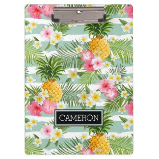 Blumen u. Ananas-aquamarine Streifen | addieren Klemmbrett