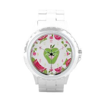 Blumen- u. grüne Apple-Lehrer-Uhr Armbanduhr