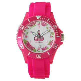 Blumen- u. rosa Schulhaus-Lehrer-sportliche Uhr
