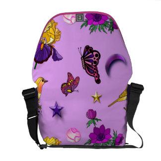 Blumen u. Schmetterlinge - Vögel u. Sterne Kuriertasche