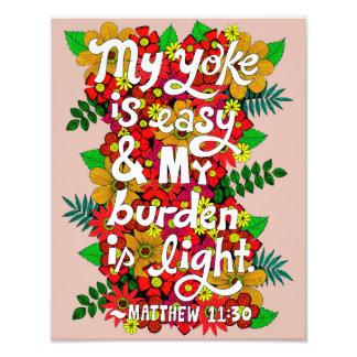 Blumen-und Blätter-Gekritzel-Typografie-Bibel-Vers Fotodruck