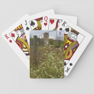 Blumen und ein Silo Spielkarten