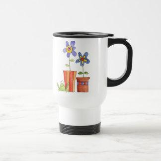 Blumen- und Froschreise-Tasse Edelstahl Thermotasse