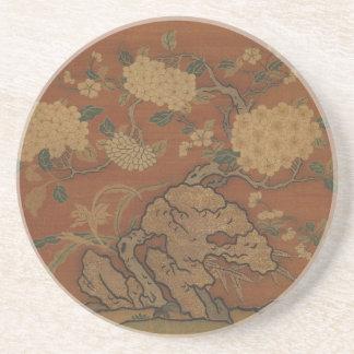 Blumen und Garten-Felsen - chinesische Seide Getränkeuntersetzer