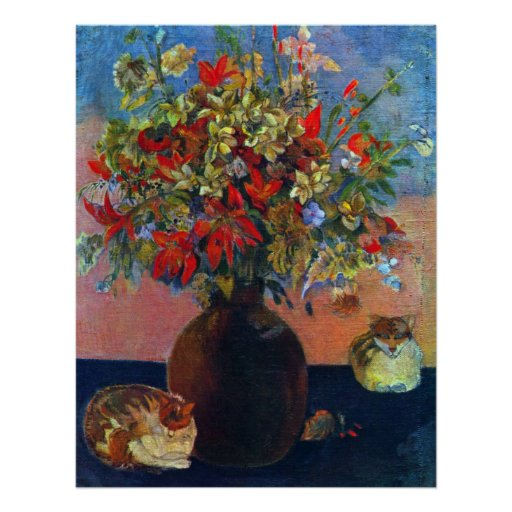 blumen und katzen durch gauguin vintager poster zazzle. Black Bedroom Furniture Sets. Home Design Ideas