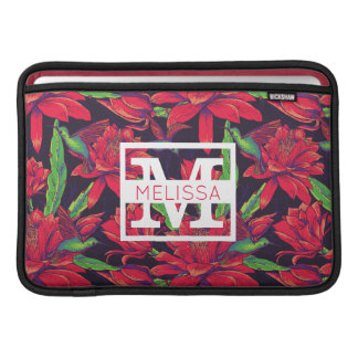 Blumen und Kolibris | addieren Ihren Namen MacBook Air Sleeve