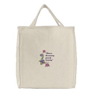 Blumen und Liebe Bestickte Einkaufstaschen